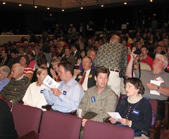 Ted-Mann-Concert-Hall-packed-for-Pawlenty-Hatch-Hutchinson-debate