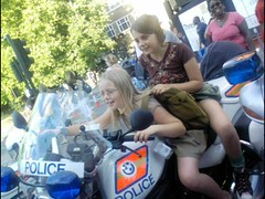 Apoa and Kiloh on a police beemer