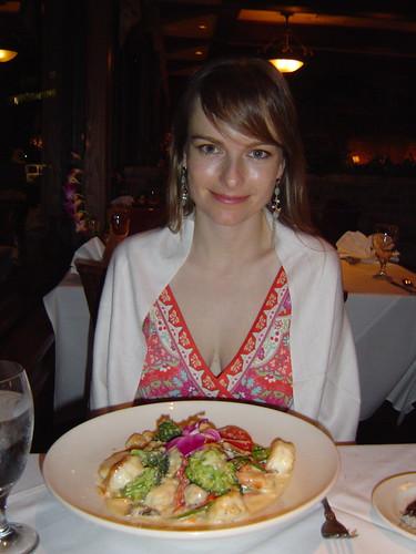 Erin had seafood fettuccine