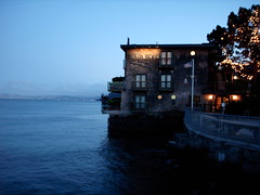 Seaside restaurant, Sausalito, twilight
