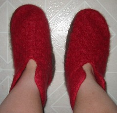 Slippers on Feet