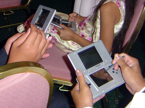 playing with Nintendogs