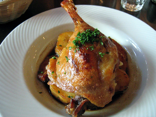 Duck confit, with mushrooms, potatoes
