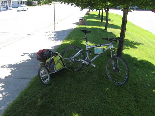my bike enjoying the shade