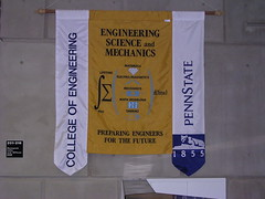 Banner in the Penn State Physics Building