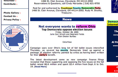 Cache screen shot of Cuyahogo Co. Dem Party homepage