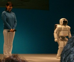 Here's asimo don't by fool by his diminutive stature though, he'd rip off your face if he could