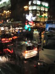 Evening gridlock in the rain