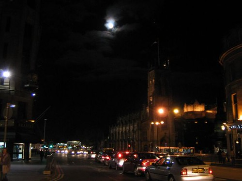 Night time shot of full moon from Shandwick Place, Edinburgh
