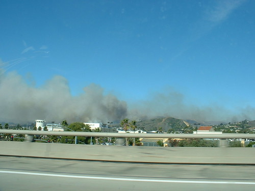 Ventura burning as seen from the highway