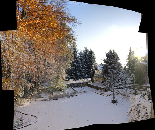schnee am tag panorama