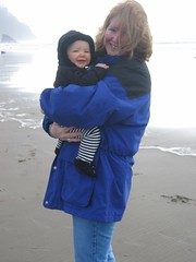 Mommy and Leda on a Windy Beach!