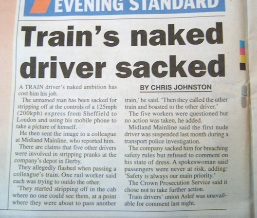 Train's naked Driver Sacked - Metro