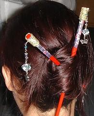 Chopsticks on hair