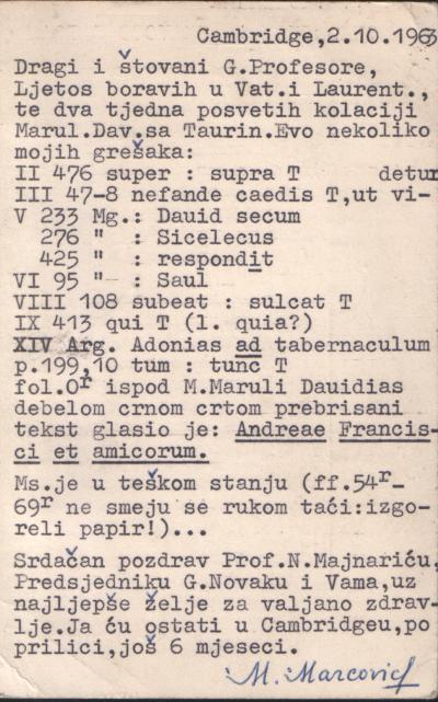 dopisnica Markovica Gortanu
