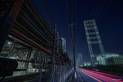 "HDR Photo: Factory night view ""Pipe Line and Power Line"" photo by uemii2010"