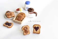 Peanut Butter and Grape Jelly Sandwich Toasts Ear Studs Posts Earring Handmade by La Nostalgie photo by La Nostalgie Handmade Jewelr, Accessories & unique