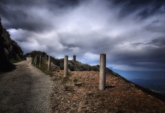 The road to the medieval Madeloc Tower in South of France photo by JRJ.