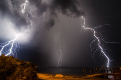 Lightning near Courtney Campbell Causeway photo by Old Boone
