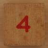 Wooden Cube Red Number 4