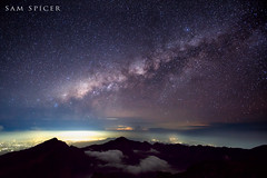 Milky way shining brightly above Rinjani Mountain, Lombok, Indonesia photo by SamKent22