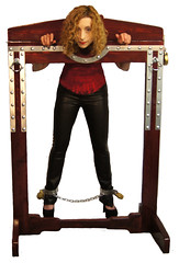 Dayle Krall in the famous Houdini Pillory! photo by Dayle Krall:Most Accomplished Female Escape Artist