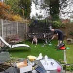 Dad hoovering the grass<br/>30 Mar 2014