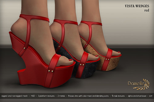 DANIELLE Vista Wedges Red
