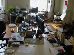 the messy, blurry office