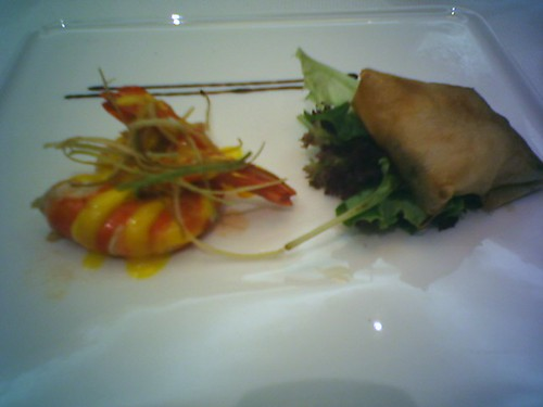Crispy Tiger Prawns in Feuille De Brick, Warm Spinach & Shimeiji Mushroom Salad