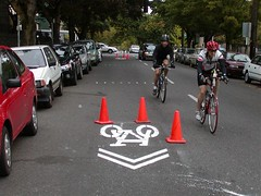 Sharrow markings in NW Portland
