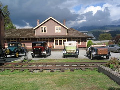 Model A's in Front of a Stormy Port Moody Station Museum