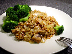 Wild Mushroom Pilaf with Broccoli
