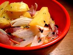 roasted potato onion stuff in a bowl