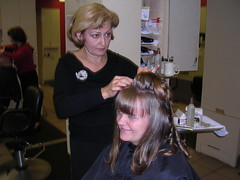 Me getting my hair done for the Minnesota reception
