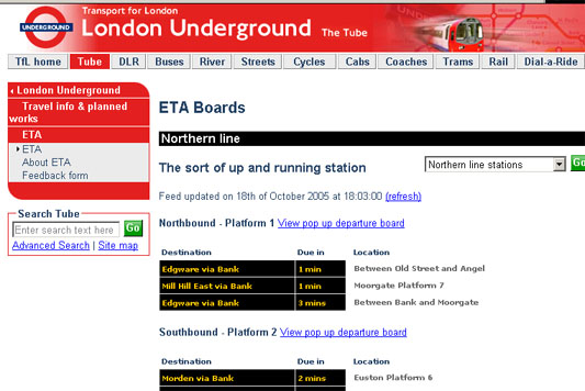 Estimated Time of Arrival London Underground Board Bug