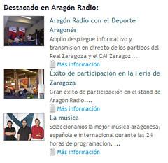 Titulares de noticias en aragonradio.es