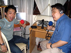 Miyagi and I doing podcast