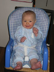 Leda at 6 months - Awaiting Breakfast!