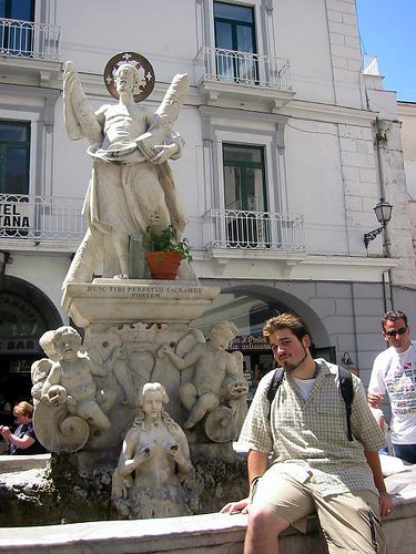 fountain in main square, amalfi