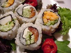 sushi plate close