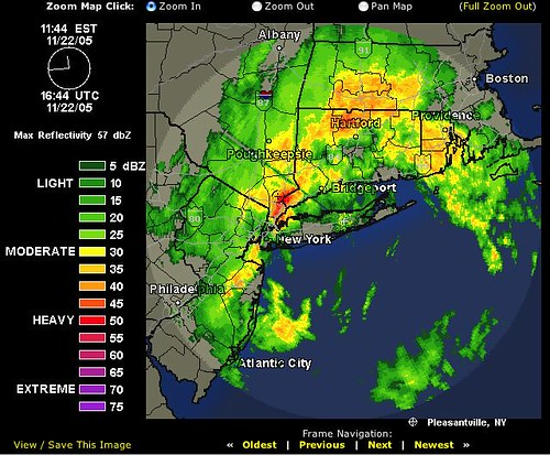 The red blotch on the map indicates that the weather rader thinks things are pretty bad here just now.