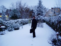 Jess walks to work in the snow