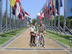 Family in front of Flags