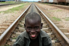 A boy in the Mpika train station