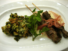 Grilled Beef Sirloin Skewers with Spinach-Gorgonzola Bread Pudding and Pickled Onions