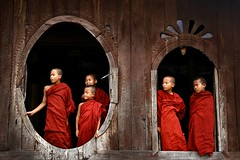 Buddhist novices in a temple, Myanmar photo by Eric Lafforgue