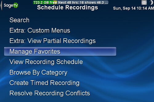 Schedule Recordings Menu in SageTV