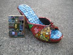 mosaic shoe and mini mosaic art photo by DSDesigns (Debra Sutton)