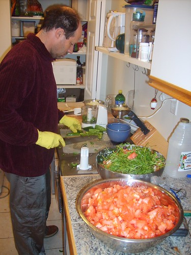 Salsa - Paul chopping jalepenos